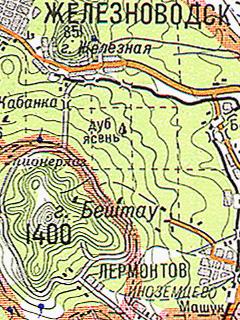 Топографическая карта кавказских